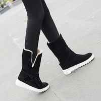 Warm Bow Platform Ankle Boots Lamb Wool Snow Boots  3841