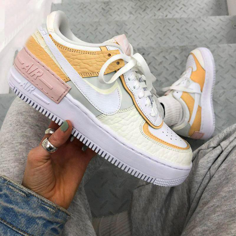 Image of Nike Air Force 1 AF1 Flat Shoes Sports Sneakers Women Apricot Shoes