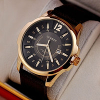 NEW Curren Brand DIAL CLOCK HOURS HAND DATE BROWN LEATHER STRAP MENS WRIST WATCHES 3ATM Waterproof (With Thanksgiving&Christmas Gift Box)= 1956981764