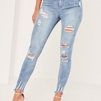 Missguided - Caroline Receveur Blue Sinner High Waisted Authentic Ripped Skinny Jeans