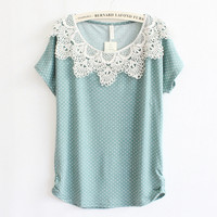 Wave Point Lace Crochet Collar Shirt