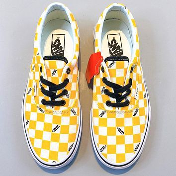VANS classic board shoes sports shoes low to help men and women checkerboard new yellow