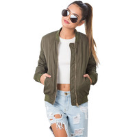 Fashion Women Autumn Winter Bomber Jackets 2016 Solid Color Chaquetas Biker Outwear Street Style Casual Classical Coats