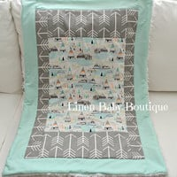 Tee Pee Arrow Crib Blanket with Mint and Grey Cotton. Picture Frame Baby Blanket. Fast Shipping!