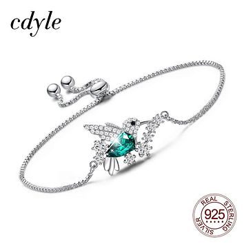 Cdyle 925 Sterling Silver Bird Bracelet Embellished with Crystal from Swarovski Link Chain Bracelet Jewelry Gift
