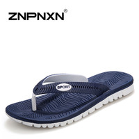 Casual Summer Sandals For Men Genuine Leather Canvas Sandals In Blue White Massage Breathable Big Size US 7-9