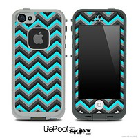 Black and Turquoise Chevron Pattern Skin for the iPhone 5 or 4/4s LifeProof Case