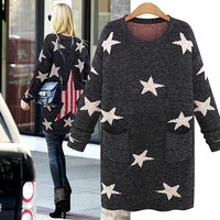 Star Print Long Sweater With Pockets