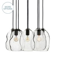 Seedy Bubble Organic Hand Blown Glass Multiple Pendant Light Chandelier