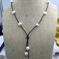 Baroque pearl leather necklace,Pearl and Leather Lariat Necklace,Leather Pearl necklace,Leather baroque pearl necklace,Tan leather