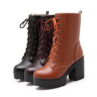 Lace Up Ankle Boots Chunky Heel Pumps Women Shoes Fall Winter 5587