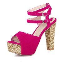 Peep Toe Strappy Sequin Chunky Heels Platform Sandals for Women 6567