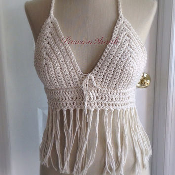 Crochet fringe top Beachwear crop top in off white or bridal color Made to order