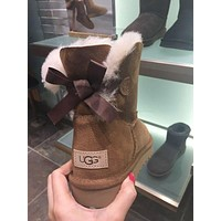 UGG Winter Warm Women Fashion Letter Print Wool A Bowknot Snow Boots Brown I