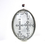 Dictionary Illustration Pendant from Vintage -- Cross -- in Glass Tile Oval