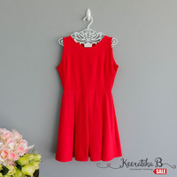 SALE - Backless red summer dress simple pleated dress bow back tie dress Small