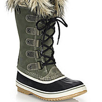 Sorel - Joan Of Arctic Faux Fur-Trimmed Suede & Leather Lace-Up Boots - Saks Fifth Avenue Mobile
