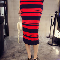 Striped Knit Package Hip Midi Skirt