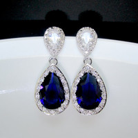 bridal sapphire earrings , wedding sapphire jewelry , big sapphire earrings , bridesmaids sapphire earrings , sterling sapphire necklace