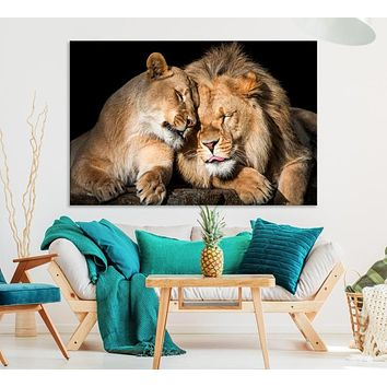 Extra Large Lion Couple Wall Art Canvas Print