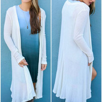 Swept Away Ivory Waffle Knit Duster Cardigan With Ruffled Hem