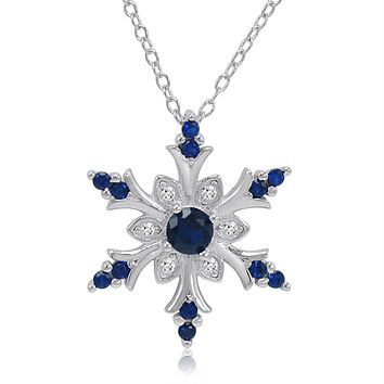Simulated Blue and Created White Sapphire Snowflake Pendant Necklace in Sterling Silver