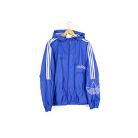 80s - 90s ADIDAS TREFOIL windbreaker - rare vintage 1980s - 1990s jacket with hood - blue + white racing stripes - big text logo - mens L