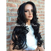 "Charlie Multi Parting Layered Curl Front Lace Wig 26"" Swiss Human Hair Blend"