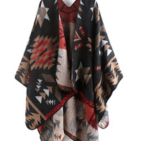 Multicolor Geo Tribal Print Cape