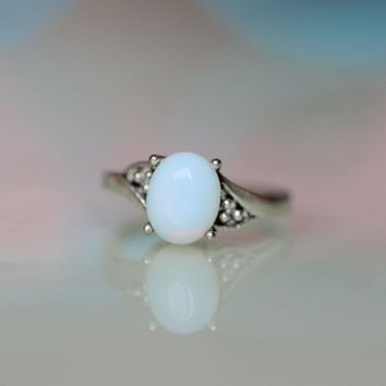 the antique simple silver ring with Moonstone jewelry Autumn gift romantic feel [R41A] : The water for design jewelry