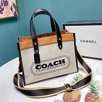 Coach New Women's Canvas Printed Letter Splicing Two-Piece Tote Bag Shoulder Bag