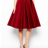 Red High-Waisted Double Pocket Pleated Midi Skirt