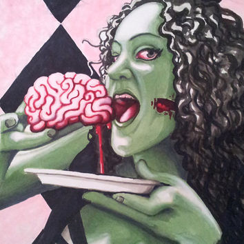 Zombie eating Brains archival paper print