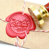 Merry Christmas Xmas Gold Plated Wax Seal Stamp x 1