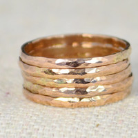 Set of 5 Classic Rose Gold Stackable Rings