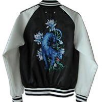 Indie Designs Panthers Embroidered Bomber Jacket
