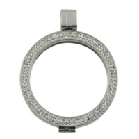 Coin Holder Locket Stainless Steel and Crystals Interchangeable Jewelry 33mm