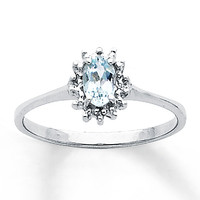 Aquamarine Ring Diamond Accents Sterling Silver