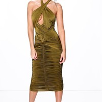 Cassie Slinky Rouched Panel Detail Midi Dress