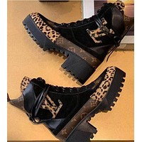Onewel LV Boots Louis Vuitton Monogram print leopard Shoes High heel high tops Shoes