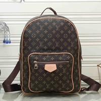 LV Louis Vuitton Tide brand classic old flower female leisure travel backpack Coffee print