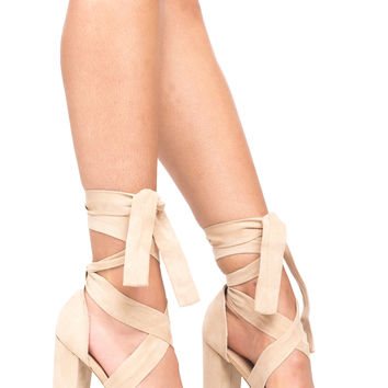 FAUX SUEDE CHUNKY TIE HEEL