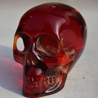 Skull Skulls Halloween Fall 11.5 cm */Collectible Decorate Handwork Old Burmese amber carving  statue Calavera