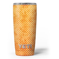 The Orange Grungy Watercolored Polka Dots - Skin Decal Vinyl Wrap Kit compatible with the Yeti Rambler Cooler Tumbler Cups