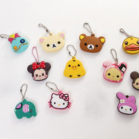 Kawaii Animal Silicon Key Caps Covers Keys Keychain Case Shell Novelty Item Christmas Gift For Girlfriend