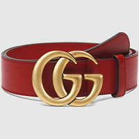 G GG hot sale printed letter gold buckle men's and women's belt Red&Smooth gold