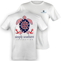 Simply Southern USA American Flag Stars Stripes Chevron Turtle Sweet Girlie Bright T Shirt