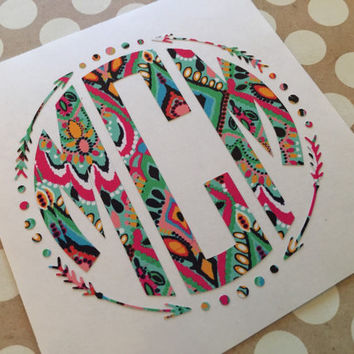 Lilly Pulitzer Aztec Arrow Circle Decal  | Monogrammed Arrow Fram | Arrow Decal | Aztec Arrow Car Decal | Follow Your Arrow | Aztec Circle