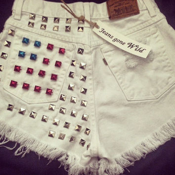 NEW High Waisted WHITE denim shorts with silver or gold studs Us flag in pocket. All sizes by jeansgonewild