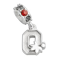 Dayna U Ohio State Buckeyes Sterling Silver Crystal Logo Charm (Gray/Silver/Red)
